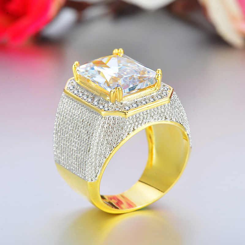ZHOUYANG แหวนผู้ชาย Hip Hop Big Ctystal Gold-สี Domineering Spirit ชาย Stree วัฒนธรรมเงินสีแฟชั่นเครื่องประดับ KAR273
