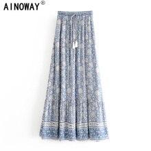 Vintage Chic fashion women Hippie beach Bohemian floral print skirt High Waist Maxi  A Line Boho Skirt Femme