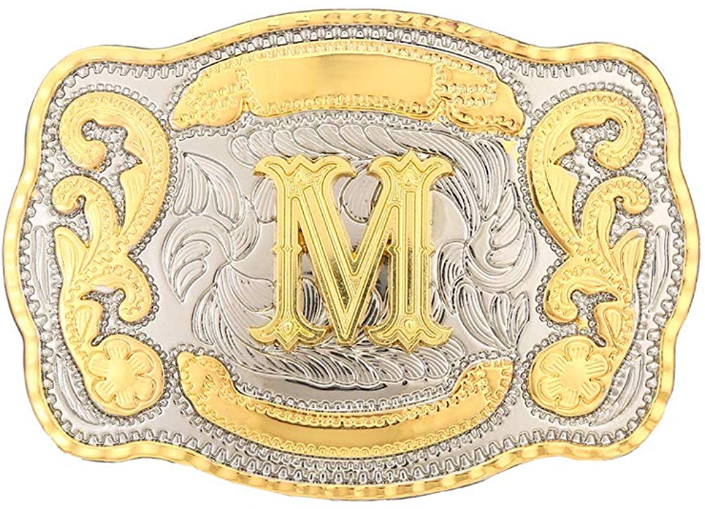 Rectangle Gold Western Belt Buckle Initial Letters ABCDMRJ To Z Cowboy Rodeo Small Gold Belt Buckles For Men Women
