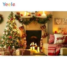Yeele Christmas Backdrop Pine Tree Fireplace Gift Newborn Baby Birthday Party Photocall Photography Background Photo Studio