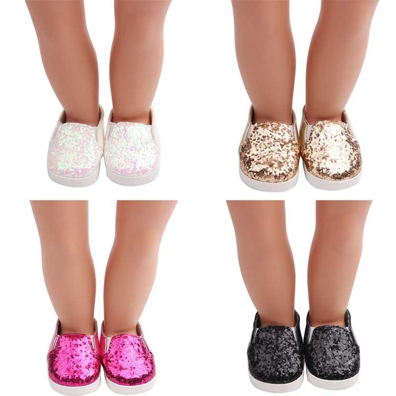 Fashion Glitter Shoes For Dolls Sequins Dress Shoe For 18 Inch Our Generation American Doll Girl Accessories