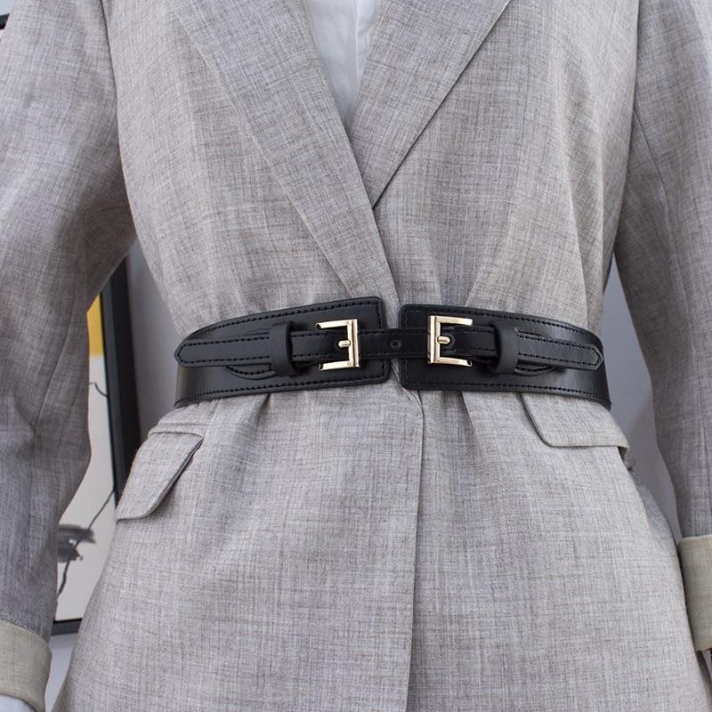 3 Colors Party Gold Buckle Waistband Wide Elastic Cummerbund Wedding Stretch Waist Belts For Women Dress Fashion Woman Belt Coat
