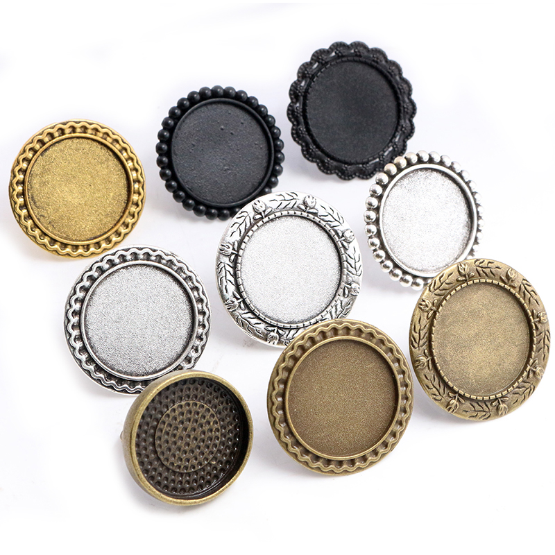 25mm 5pcs Antique Silver Plated Bronze Black Brass Adjustable Ring Settings Blank/Base,Fit 25mm Glass Cabochons,Buttons Bezels