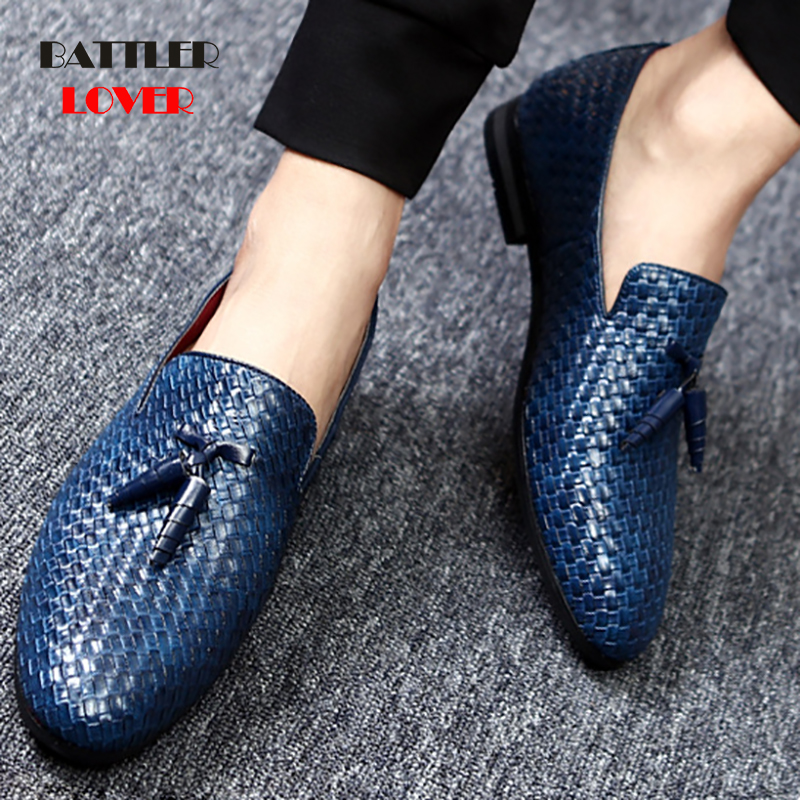 Pointed Toe Formal Shoes Man Weave Leather Oxfords 2019 Spring Men Italy Dress Shoes Business Wedding Shoes For Male Large Sizes