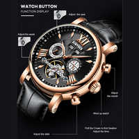 KINYUED Automatic Mechanical Watch Fashion Leather Waterproof Men's Watches Perpetual Calendar Reloj Hombre Gift Box Packaging