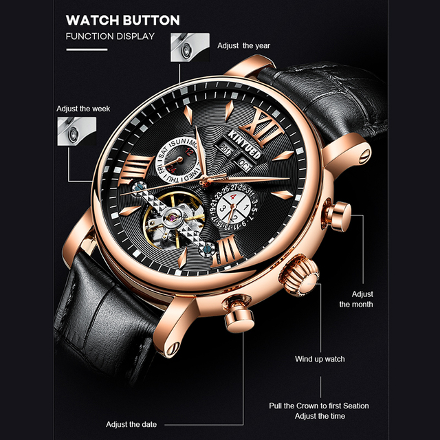 KINYUED Automatische Mechanische Uhr Mode Leder Wasserdicht herren Uhren Perpetual Kalender Reloj Hombre Geschenk Box Verpackung