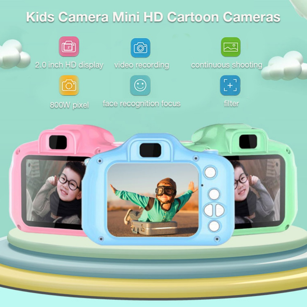 H85a15c6b96e74341b1d0a77f996483dfO HD Screen Chargable Camera Outdoor Digital Mini Camera Kids Cartoon Cute Camera 2 Inch Photography Props For Child Birthday Gift