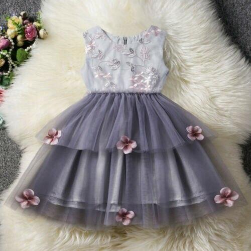 UK Toddler Kid Baby Girl Tutu Dress Floral Tulle Princess Weeding Party Sundress