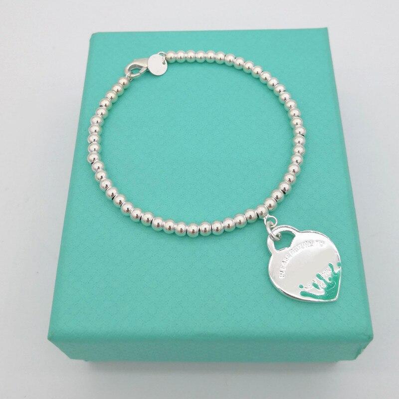 1 1 argent sterling 925 classique dames bleu rose noir eau splash coeur en forme de 4mm boule perle bijoux cadeau de vacances