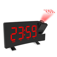 Digital Alarm Clock LED Light Time Projection Loud Clocks With FM Radio Snooze Sleep Function Waking Child Adult Desk Clock(China)