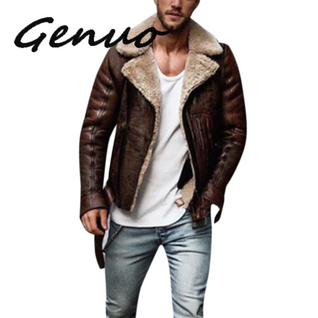 Genuo Men Winter Leather Jacket Imitation Biker Motorcycle Zipper Long Sleeve Coat Slim Short Male Moto Sheepskin Short Jacket