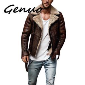 Image 1 - Genuo 男性の冬の革模造バイカーオートバイジッパー長袖コートスリムショート男性 Moto シープスキンショートジャケット
