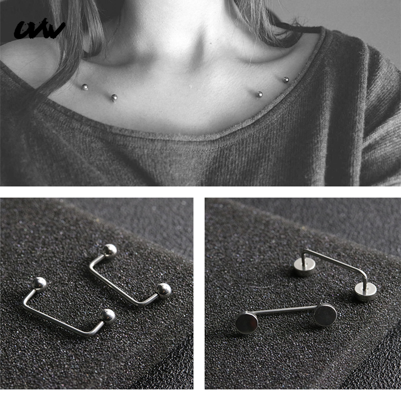 1pc Exaggerated Punk 316L Steel Silver Color Retainer & Hide it Jewelry U Shape Ball Neck Clavicle Piercing Body Jewelry UVW278