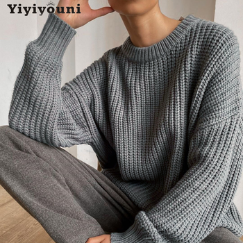 Yiyiyonii Vintage ponadgabarytowy sweter z dzianiny kobiet elegancki gruby luźny sweter swetry kobiet koreański moda solidna dzianina topy tanie i dobre opinie Yiyiyouni Stałe REGULAR Akrylowe Z okrągłym kołnierzykiem CN (pochodzenie) Zima NONE Pełne Grube Brak Luźne Dla osób w wieku 18-35 lat