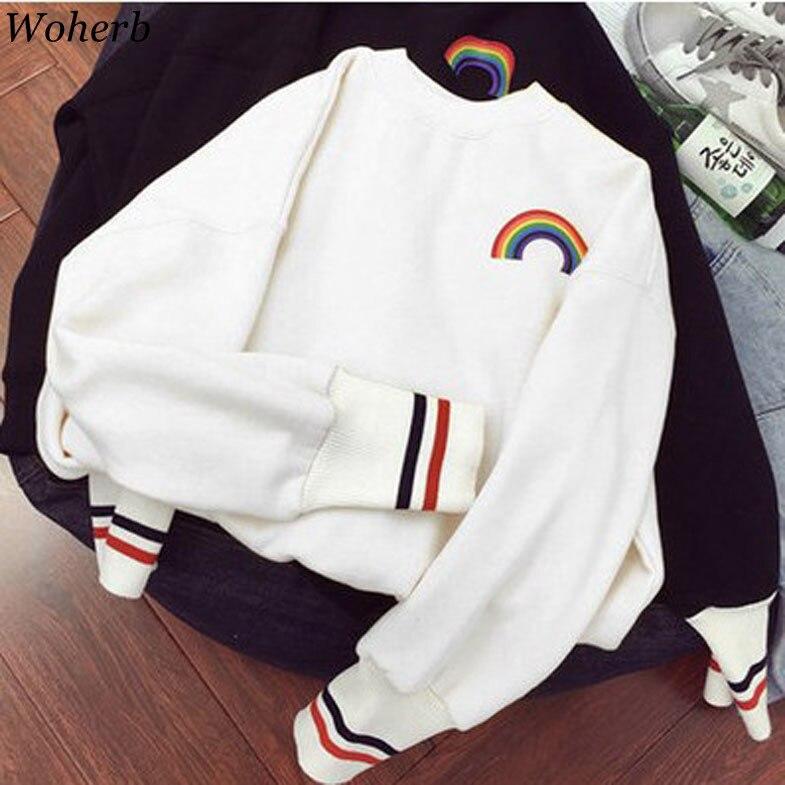 Woherb Korean 2019 Girls Kawaii Sweatshirt Rainbow Print Cute Hoodies Women Autumn Thin Harajuku Hoodie Crewneck Sweatshirts