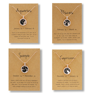 Rinhoo Factory 12 Zodiac Constellations Pendants Necklaces Rose Gold Chain Jewelry Fashion Charm Birthday Gifts With Paper Card