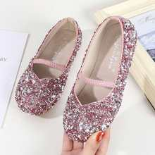 New shoes Cinderella's crystal dress shoes little girl Cosplay dress sandals party shoes for children(China)