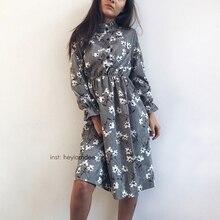VZFF High Elastic Waist Vintage Thick Winter Dress A-line Style Women Full Sleeve Flower Plaid Print Dresses Slim Feminino