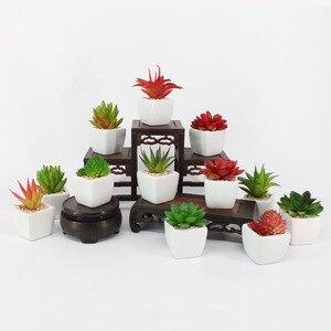 Mini small ceramic pot simulation succulent bonsai, creative DIY simulation flower plant pot, furniture decoration