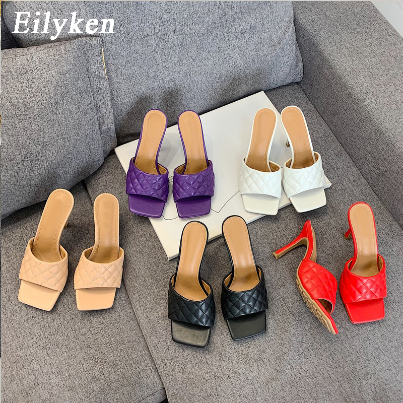 Eilyken Elegant Ladies Dress Shoes Summer Design Square Toe Heels Fashion Soft Leather Womens Slippers Sexy Sandals Slides