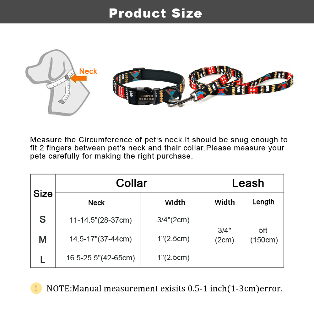 Text - Personalised Dog Collar With Leash Nylon Custom Pet ID Collars Colorful Printed Dogs Walking Leash for Small Medium Large Dogs
