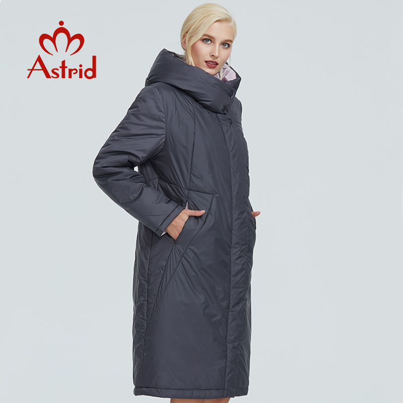 2019 Astrid winter jacket women Contrast color long thick cotton clothing with cap and zipper warm coat women   parka   AT-6703