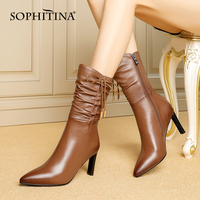 SOPHITINA Women's Shoes New High Quality Ladies Mid Calf Boots Pointed Toe High Heel Zipper Pleated Decoration Boots Women MO740