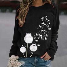 T-shirt manches longues col rond pour femme, surdimensionné, à la mode, avec chat imprimé, 2021