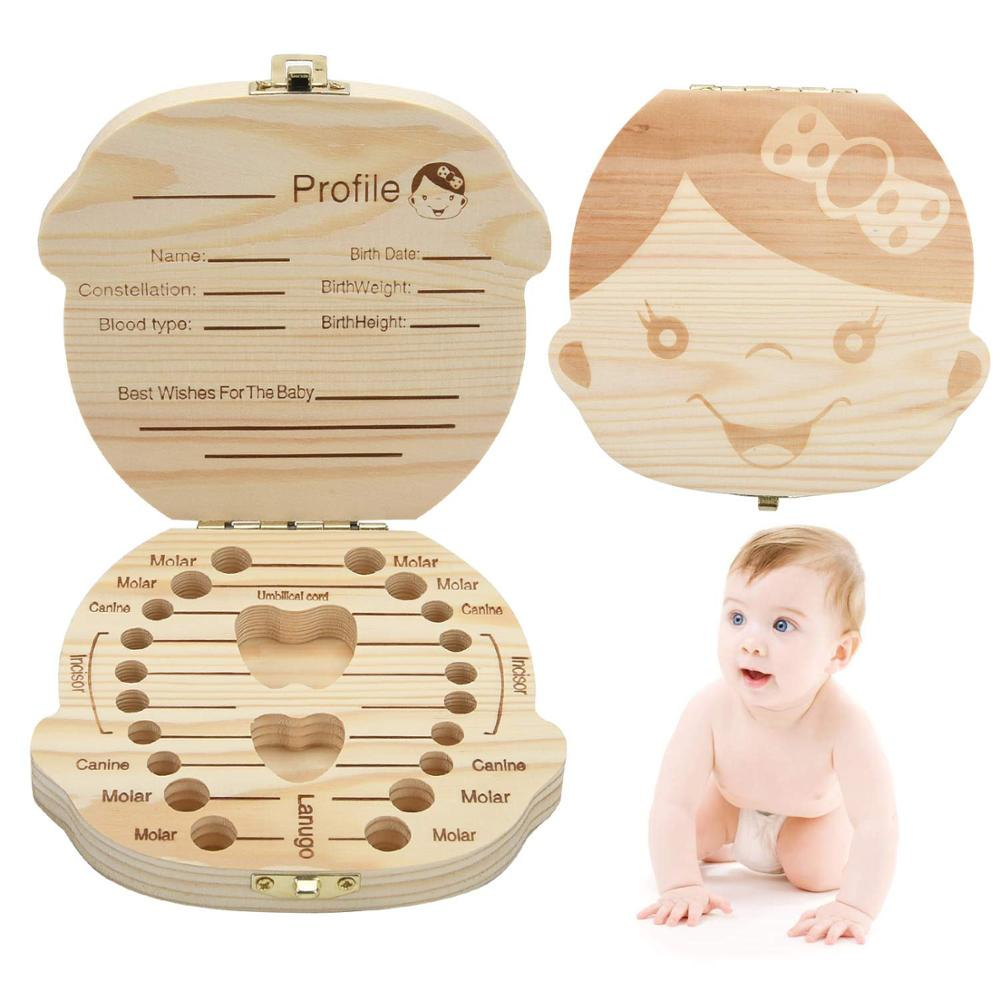Baby Tooth Keepsake Box,Deciduous Teeth Milk Teeth Saver Boxes, Wooden First Tooth And Curl Memory Container For Child Newborns