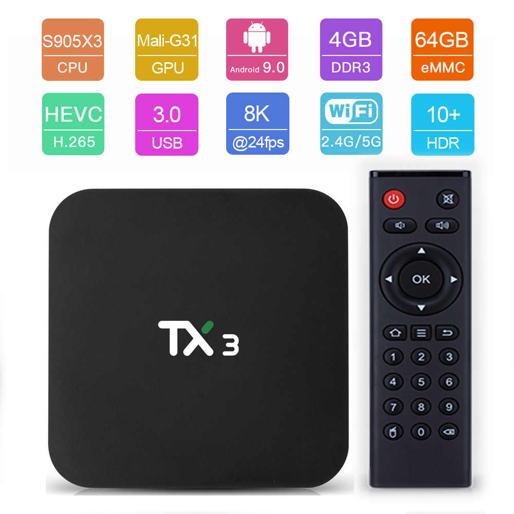 Tanix TX3 Android 9.0 TV BOX Amlogic S905X3 H.265 8K Netflix HDR