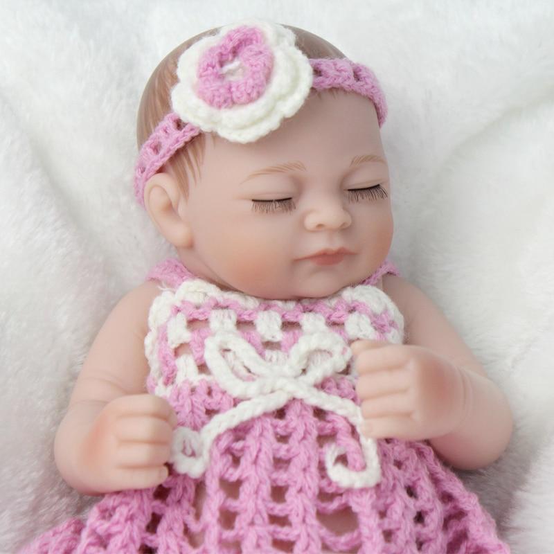 28 CM Sleeping Girl Princess Reborn Baby Dolls Full Soft Silicone Reborn Toddler With Fashion Dress Lifelike Baby Reborn Dolls in Dolls from Toys Hobbies