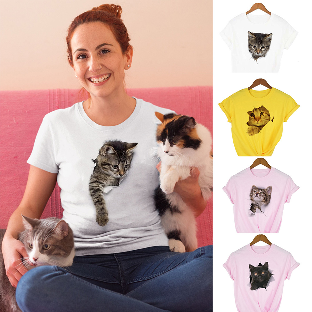 Fashion Cute 3D Cat Print Casual Harajuku T Shirt Summer Casual O Neck Clothes Top Female Graphic Tee Women Camisas Mujer Kawaii|T-Shirts| - AliExpress