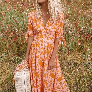Women Boho Dress Summer Floral V Neck Long Maxi Party Beach Dresses Sundress Fashion Ladies