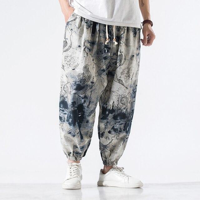Calças masculinas harem calças joggers estampado com cordão solto-virilha calças masculinas 2020 solto coreano streetwear algodão casual calças masculinas 5