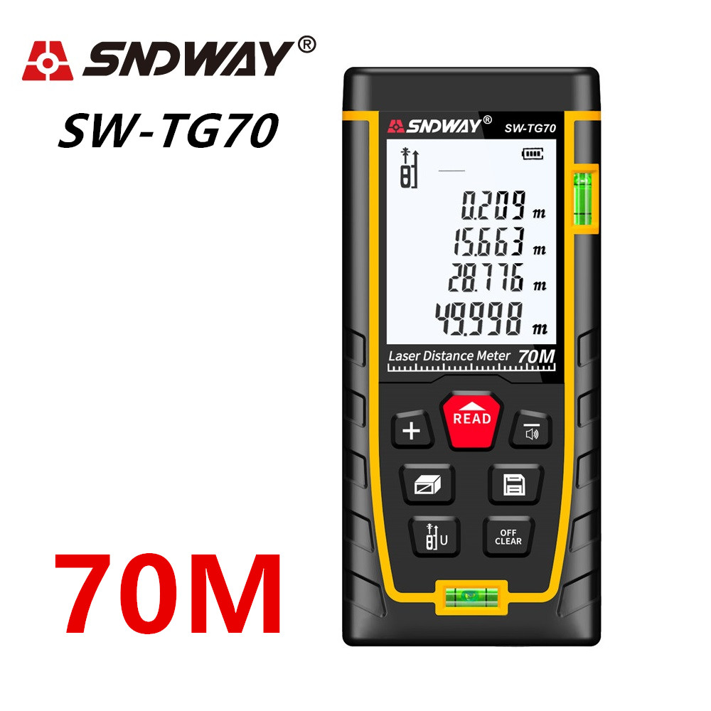 SNDWAY Laser Distance Meter 40-120M with LCD and Auto Power Off to Measure Wide Range Area 10