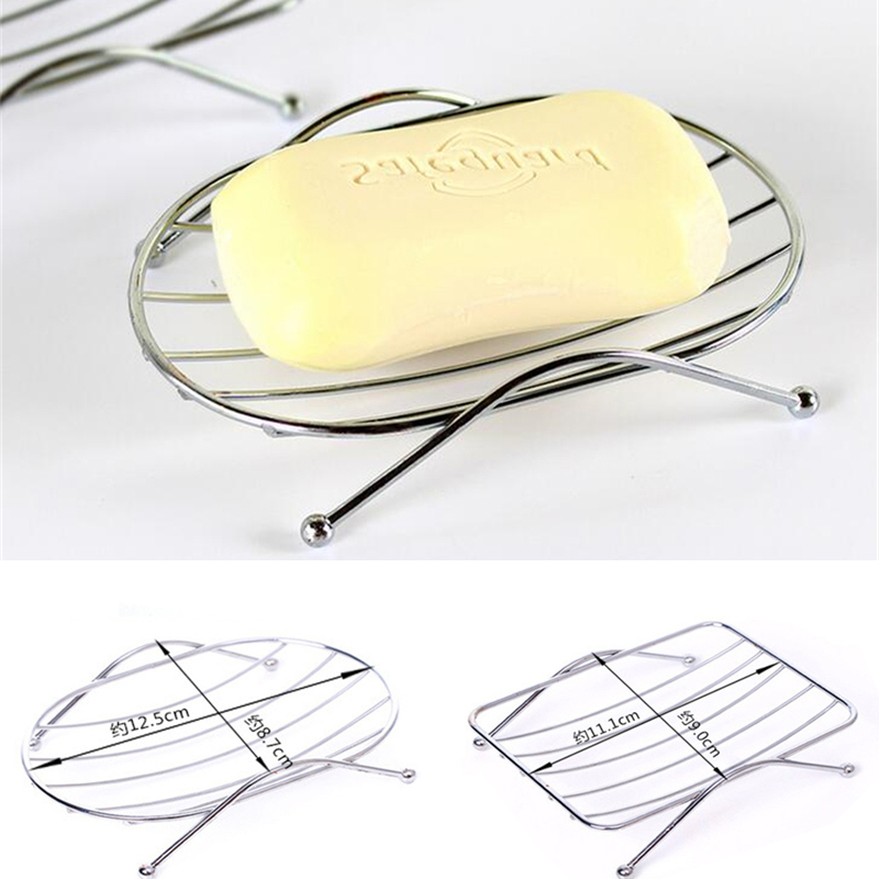 1Pc Fashion New Stainless Steel Soap Stand Holder High Quality Functional Round Square Bathroom Soap Dishes Tray Boxes