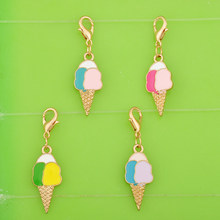 DIY metal dangle enamel summer food ice cream cone charms with clasp pendants for bracelet/necklace/earring jewelry making charm(China)