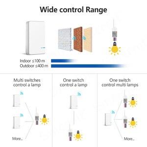 Image 2 - ワイヤレス防水リモートコントロールスイッチなしワイヤー必要壁のプッシュボタンは照明ランプファンオン/オフスイッチ