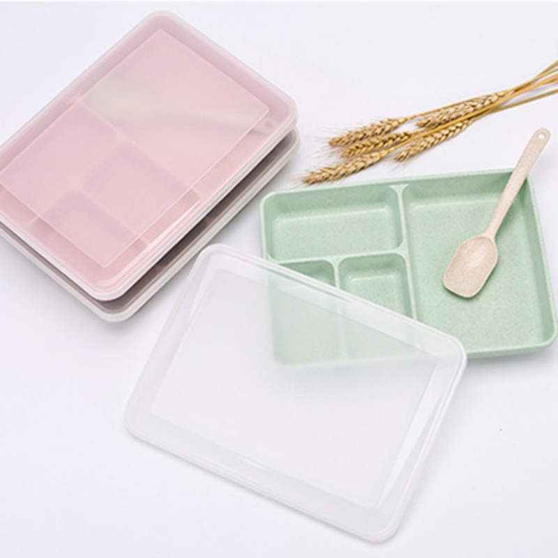 Wheat Straw Compartment Sealed Lunch Box Portable Bento Box With Spoon For Microwave Heating|Lunch Boxes| |  -