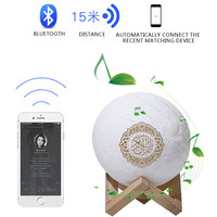 Quran Music Moon Lamp Wireless Bluetooth Speaker Touch Remote Control Colorful LED Night Light Moonlight Muslim FM TF MP3 Player