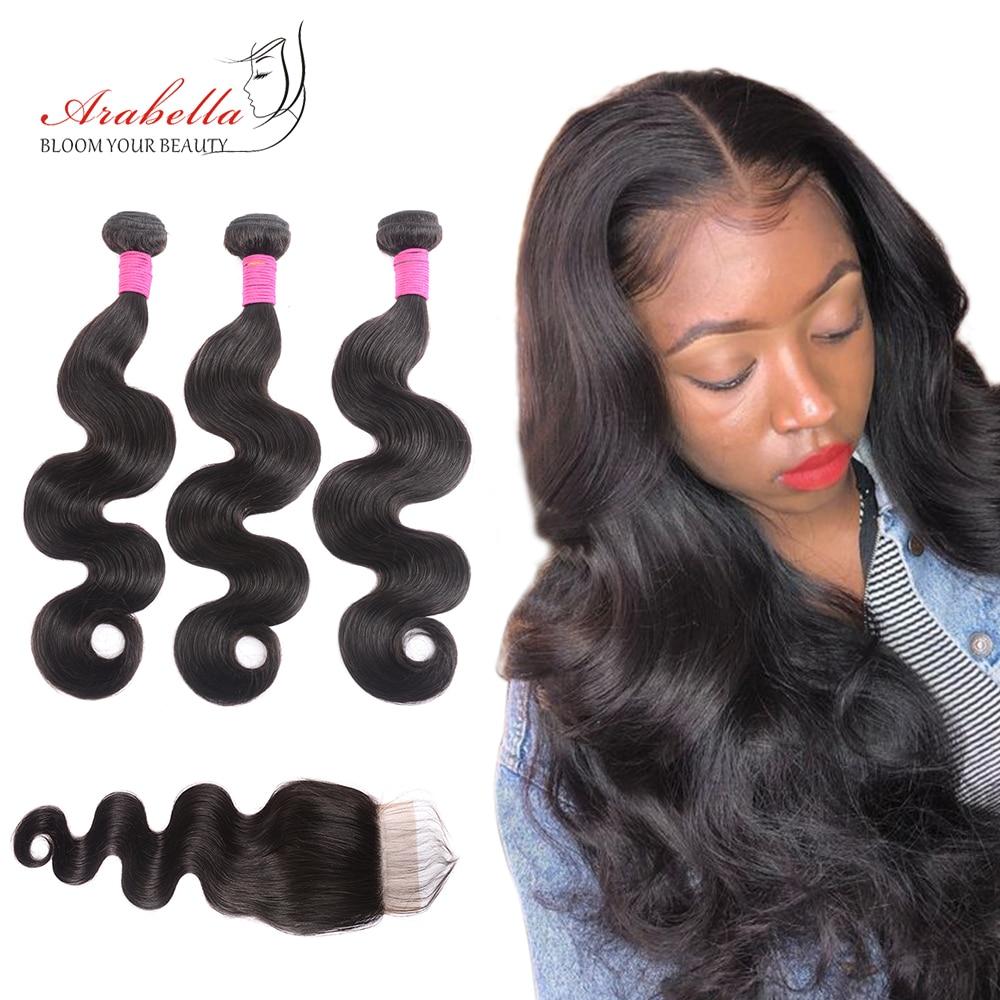 Body Wave 3 Bundles With Closure Natural Color   Arabella  Hair 3 Bundles With 4*4 Lace Closure 1