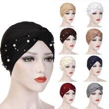 Женский эластичный мусульманский тюрбан хиджаб Исламская Индия шапки бусы шапки Хемо дамы хиджаб шарф головные уборы завязанные мусульманский тюрбан