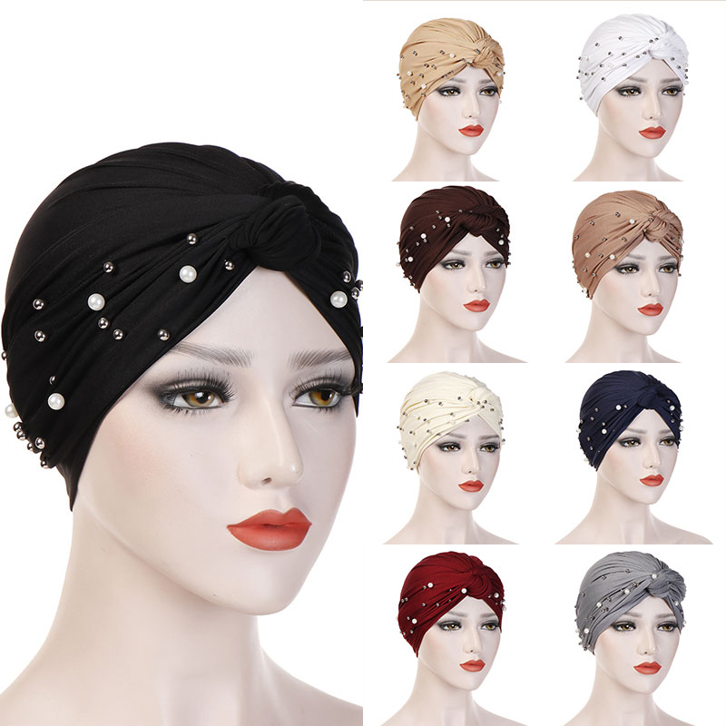 2019 Women Elastic Turban Muslim Hijab Islamic India Caps Beads Chemo Caps Ladies Hijab Scarf Headwraps Knotted Muslim Turban