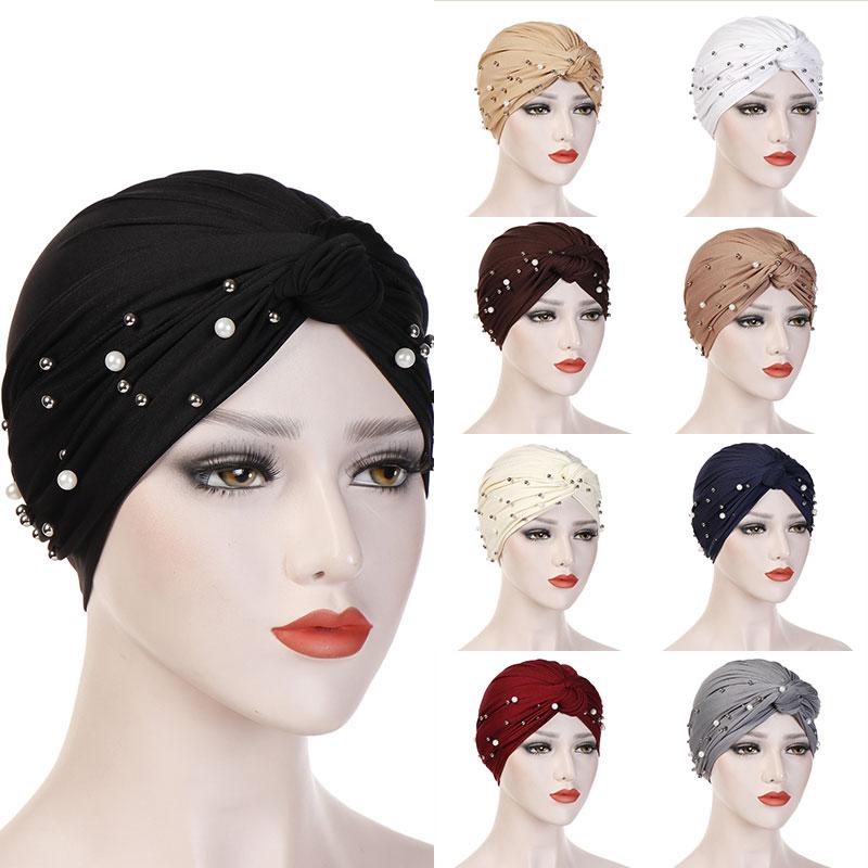 2019 Women Elastic Turban Muslim Hijab Islamic India Caps Beads Chemo Caps Ladies Hijab Scarf Headwraps Knotted Muslim Turban