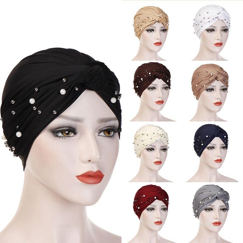 2020 Women Elastic Turban Muslim Hijab Islamic India Caps Beads Chemo Caps Ladies Hijab Scarf Headwraps Knotted Muslim Turban