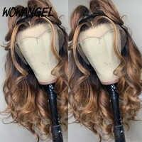 Wowangel-pelucas de cabello humano 13x4, rubio miel, Color degradado, resaltado, 150% encaje frontal, Remy, brasileño, Invisible, prearrancado