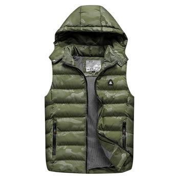 New Men Vest Jackets Warm Thick Autumn Winter Casual Hooded Coat Sleeveless Men Camouflage Zipper Hoodies Down Waistcoat Outdoor camouflage zip up furry hood down waistcoat