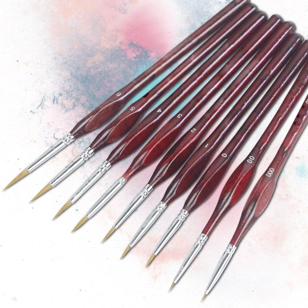 New 9Pcs Miniature Paint Brush Set Professional Sable Hair Fine Detail Art Nail Model Paint Brush Kit