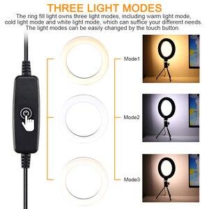 Image 5 - Aro de luz de led para fotografia, disco de luz de led para fotografia, 26cm, ajustável, suporte para telefone, lâmpada para maquiagem, gravação de vídeos estúdio ao vivo