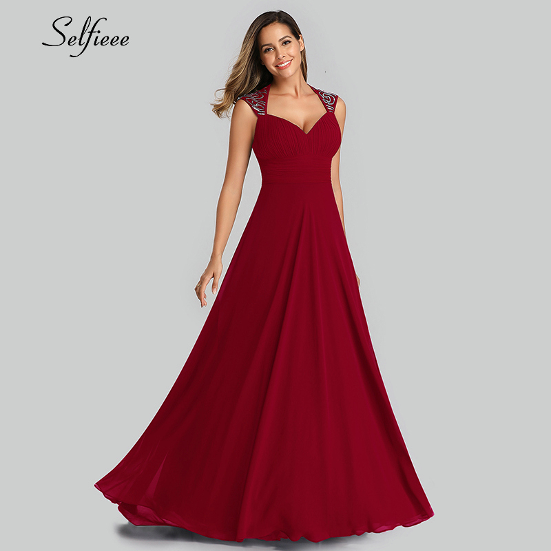 Elegante Maxi Kleid A-Line V-ausschnitt Ärmellose Geraffte Vinatge Chiffon Frauen Kleid Damen Abend Party Kleider Vestido De Festa 2019
